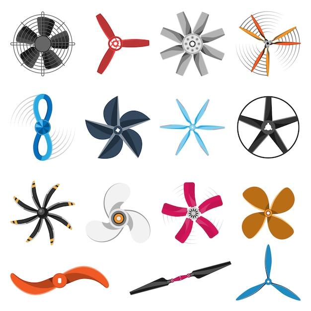 Set di icone ventilatore elica. Vettore Premium