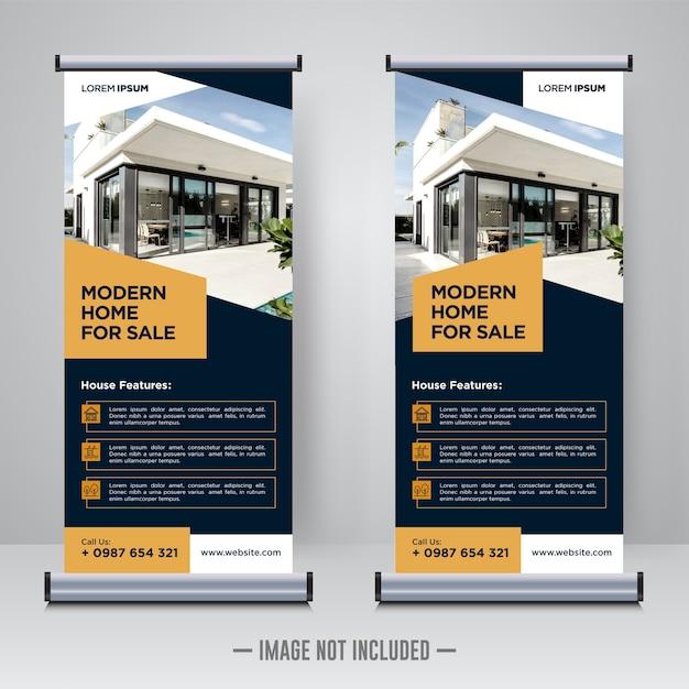 Modello di banner di proprietà, roll up o x Vettore Premium