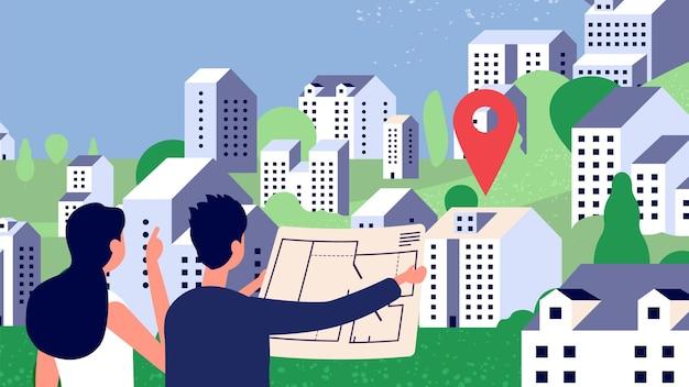 Selezione della proprietà. paio di guardare il piano casa. caratteri vettoriali, paesaggio di campagna con montagne di case. illustrazione casa edilizia immobiliare, architettura residenziale Vettore Premium