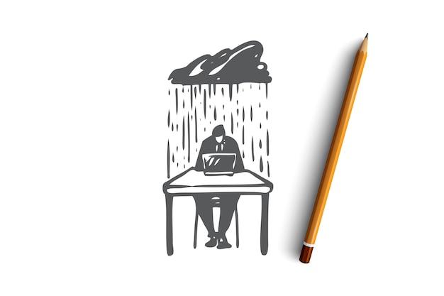 Prospettiva, no, preoccupazione, occupato, concetto di dilemma. uomo d'affari disegnato a mano sotto la pioggia di schizzo di concetto di problemi. illustrazione. Vettore Premium