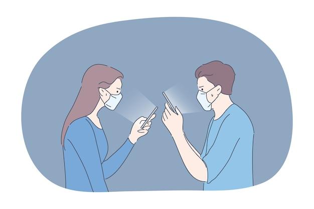 Protezione, comunicazione, infezione, concetto di coronavirus. coppia uomo e donna che indossano maschere mediche comunicano nei social media online insieme. resta a casa durante la quarantena della malattia covid19. Vettore Premium