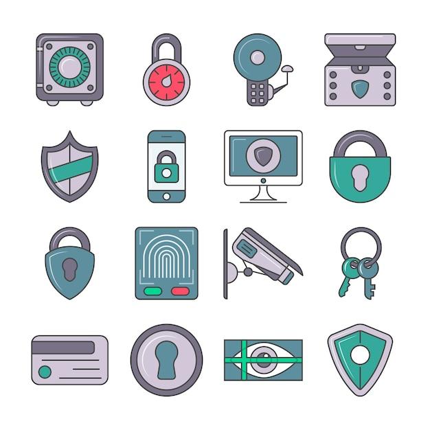 Set di pittogrammi di protezione e sicurezza Vettore Premium