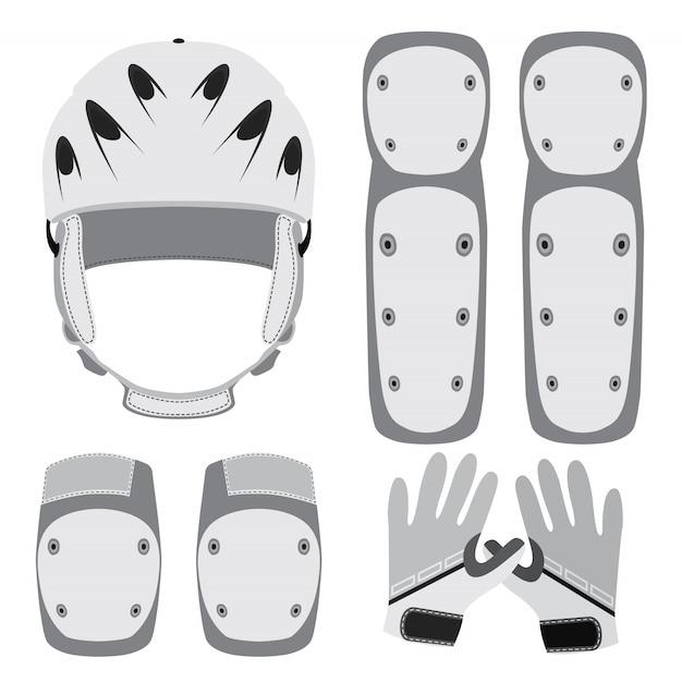 Equipaggiamento protettivo per skateboard, pattinaggio a rotelle o bici Vettore Premium