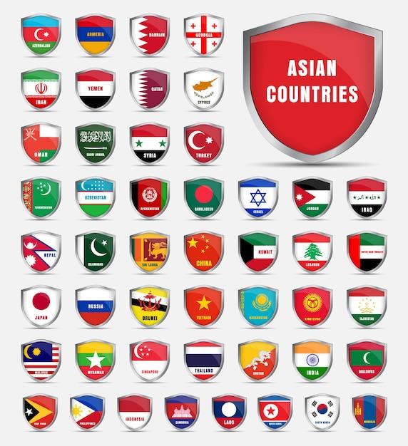 Scudo protettivo con bandiere e il nome dei paesi asiatici. imposta gli scudi Vettore Premium