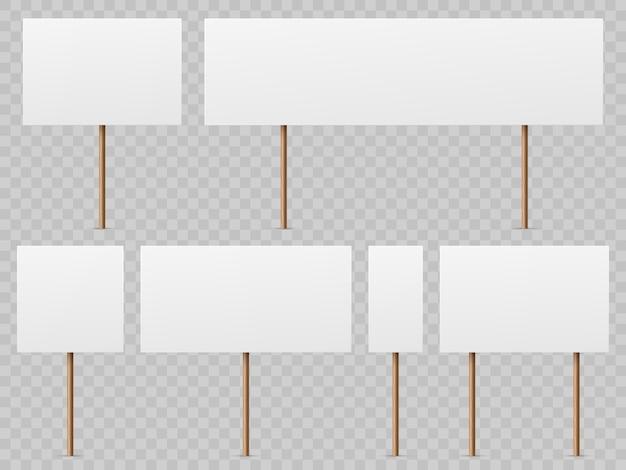 Striscioni di protesta. cartello bianco vuoto con bastone di legno. schede di sciopero politico realistico tenendo il modello di foglio elettronico pubblico Vettore Premium