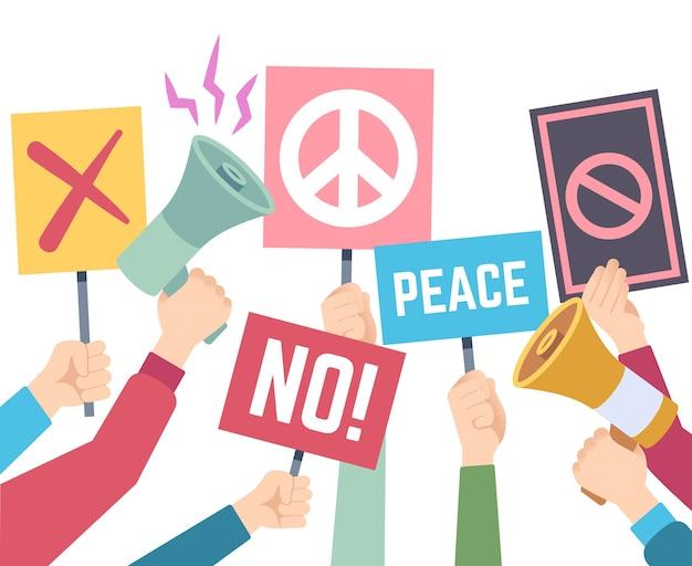 Concetto di protesta. le mani tengono diversi banner e megafoni, picchetto di protesta, diritti di persone poster di crisi politica gruppo umano che firma tenendo la carta illustrazione Vettore Premium