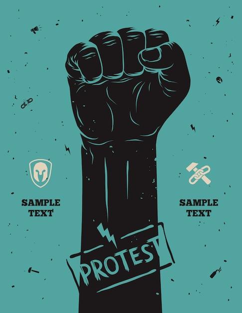 Manifesto di protesta, pugno alzato tenuto in segno di protesta Vettore Premium