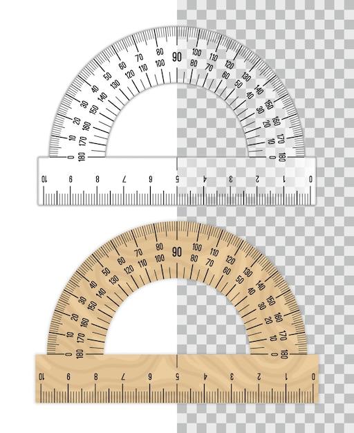Righello goniometro. goniometri di plastica e legno isolati su bianco Vettore Premium