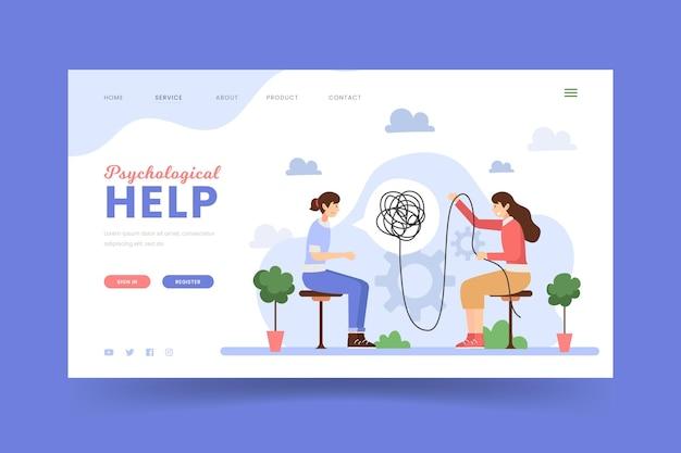 Modello di pagina di destinazione dell'aiuto psicologico Vettore Premium