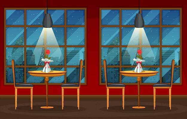 Scena di sfondo di pub e ristorante Vettore Premium