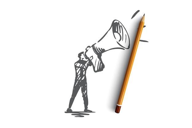 Pubblico, pubblicità, comunicazione, pr, concetto di media. manager di pr disegnati a mano con l'abbozzo di concetto del megafono. Vettore Premium