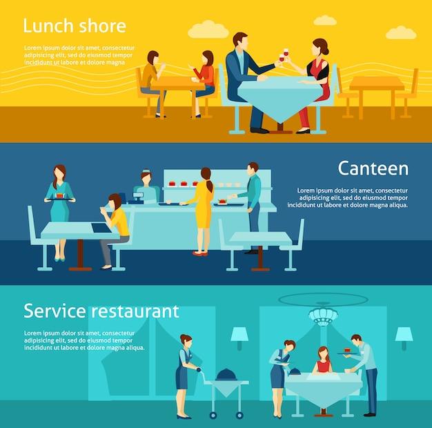 Set di banner orizzontale piatto di catering pubblico Vettore Premium
