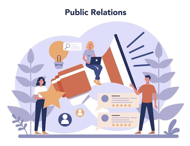 Concetto di pubbliche relazioni in design piatto Vettore Premium