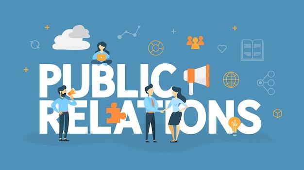 Concetto di pubbliche relazioni. idea di fare annunci attraverso i mass media per pubblicizzare la tua attività. strategia di marketing e gestione. illustrazione Vettore Premium