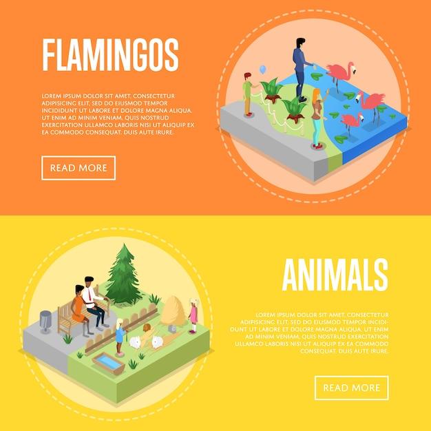 Set di poster 3d isometrici dello zoo pubblico Vettore Premium