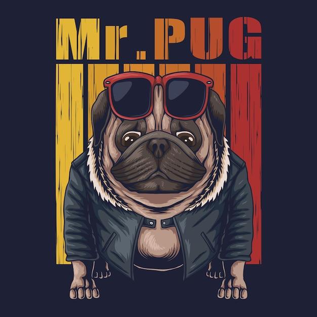 Illustrazione cool del cane del pug Vettore Premium