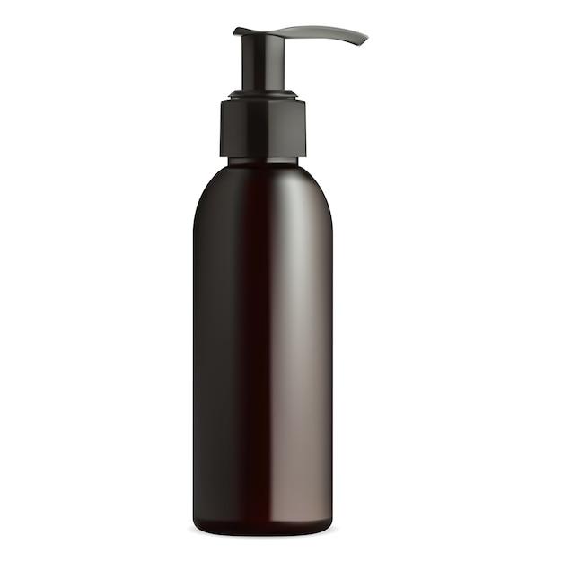 Flacone dosatore per gel corpo, sapone. mockup di design nero per tubo dispenser in plastica. imballaggio crema per la pelle isolato Vettore Premium