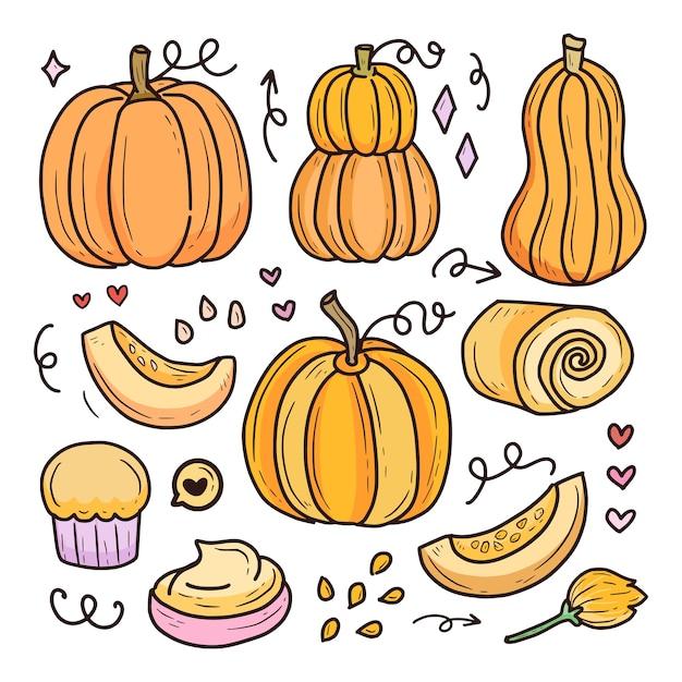 Raccolta della frutta del disegno di halloween della zucca raccolta della frutta del disegno della zucca di halloween Vettore Premium