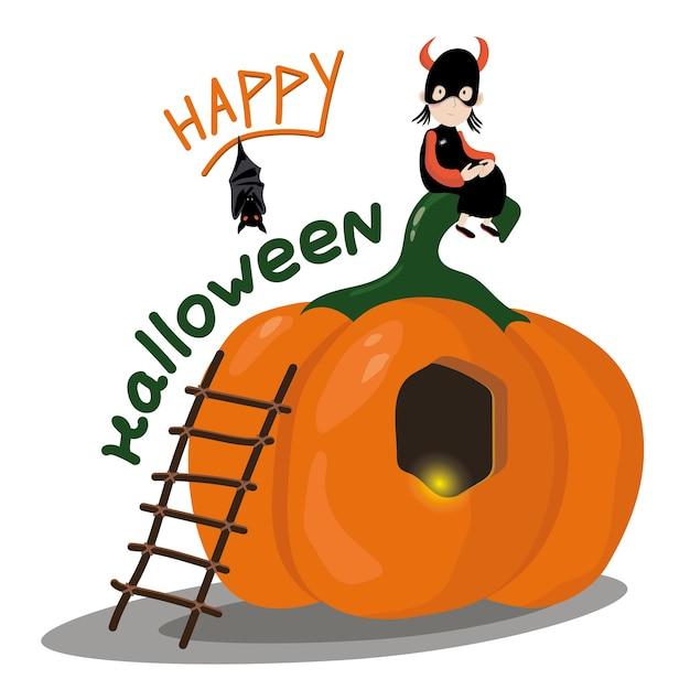 Scheda di halloween della casa della zucca Vettore Premium