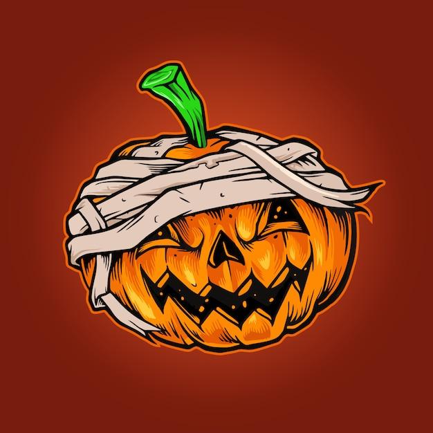 Orrore della mascotte di halloween delle zucche Vettore Premium
