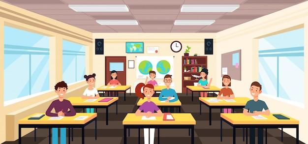 Gli alunni studiano all'interno dell'aula. alunni nell'illustrazione di vettore di lezione di scuola Vettore Premium