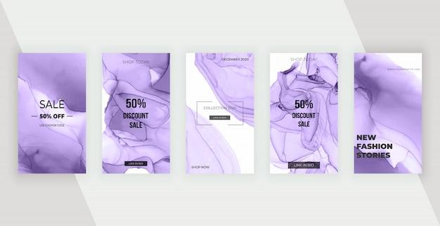 Banner di storie sui social media con inchiostro viola alcol. design moderno per flyer, poster, carta Vettore Premium