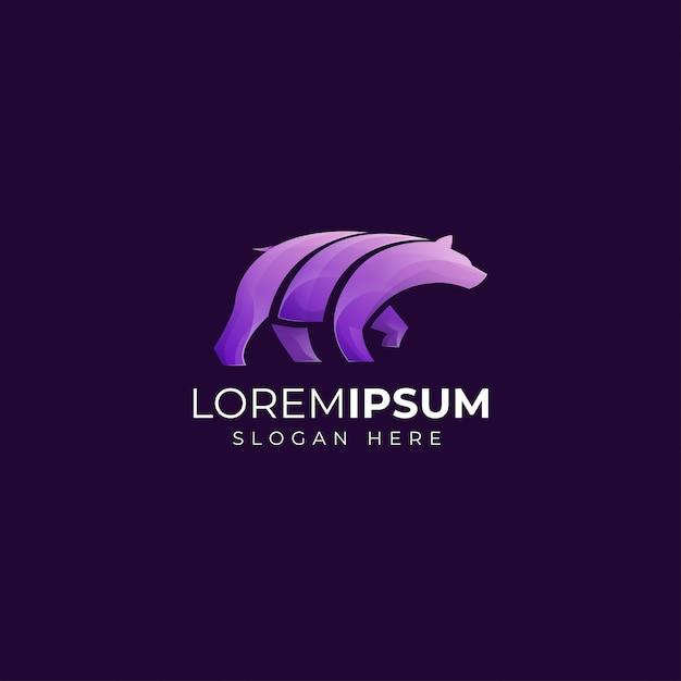 Modello di logo dell'orso viola Vettore Premium