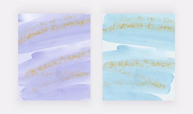 Acquerello di pennellate viola e blu e sfondi di coriandoli glitter scintillanti d'oro. Vettore Premium