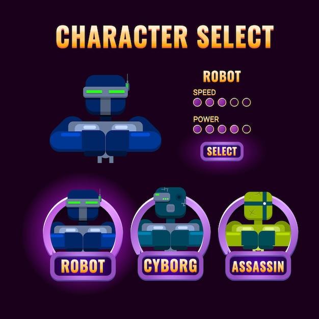Selezione del personaggio dell'interfaccia utente di purple game Vettore Premium