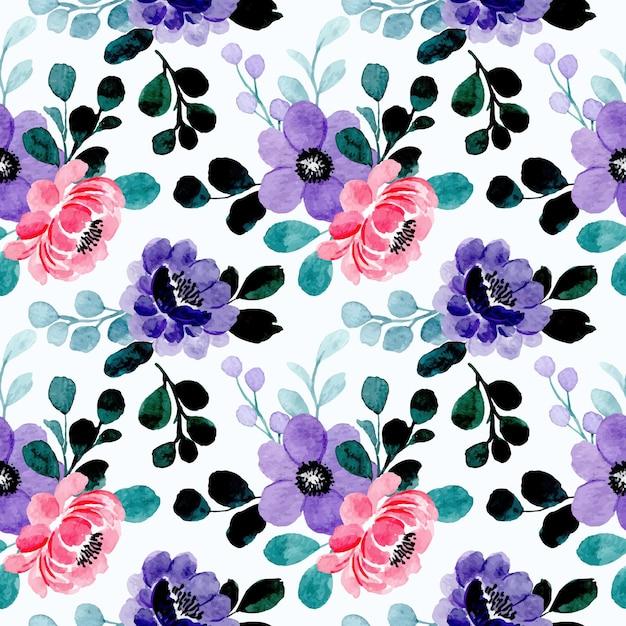 Modello senza cuciture dell'acquerello floreale rosa viola Vettore Premium