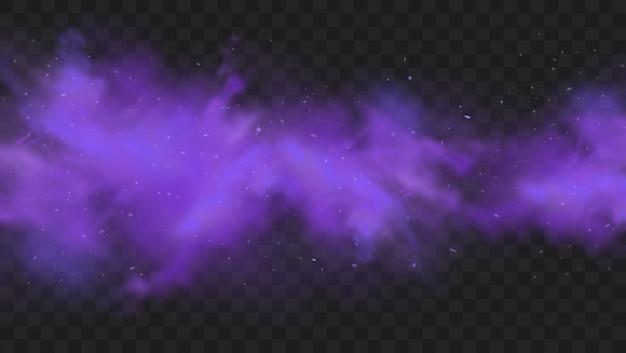 Fumo viola isolato. esplosione di polvere viola astratta con particelle e glitter. fumo di narghilè, gas velenosi, polvere viola, effetto nebbia. Vettore Premium