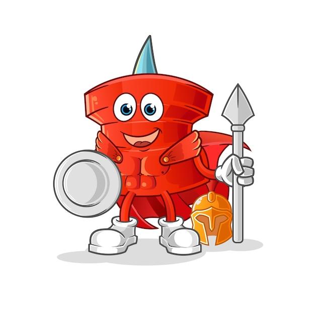 Spingere il carattere spartano del perno. mascotte dei cartoni animati Vettore Premium