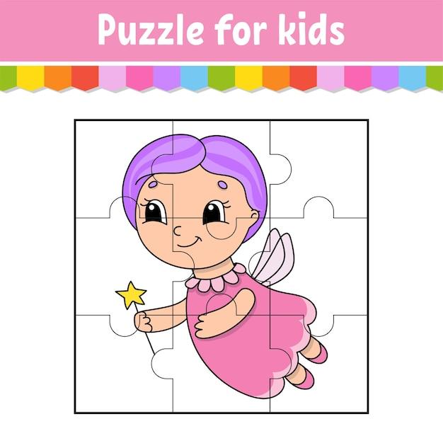 Gioco di puzzle per bambini. pezzi di puzzle. foglio di lavoro a colori. Vettore Premium