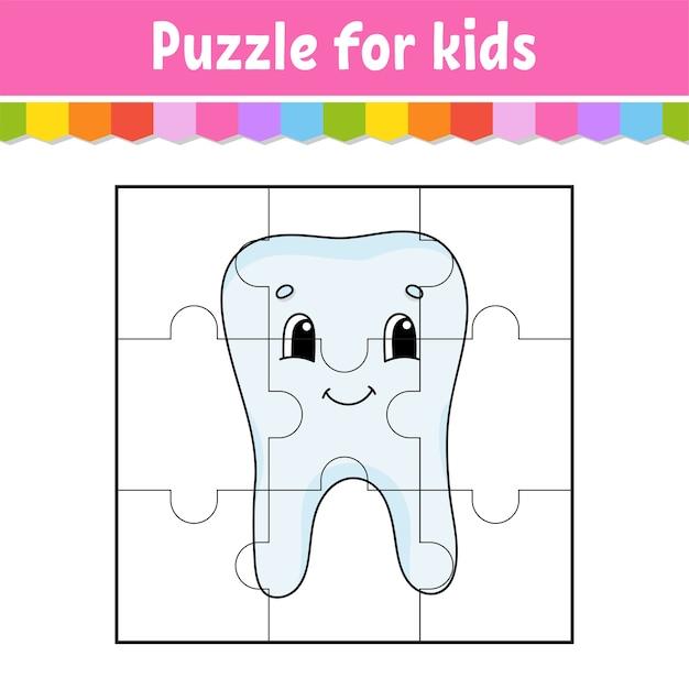 Gioco di puzzle per bambini. pezzi di puzzle. Vettore Premium