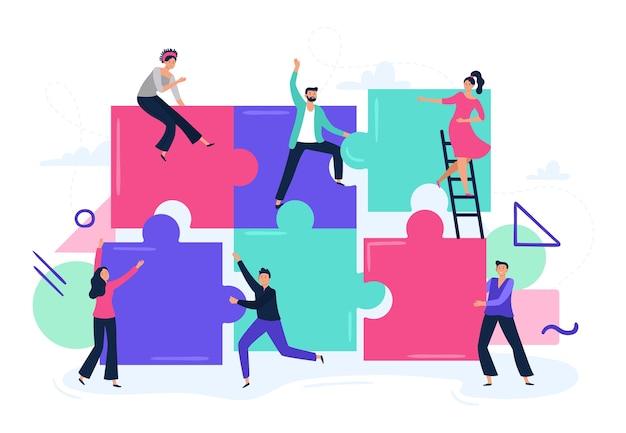 Puzzle di lavoro di squadra Vettore Premium