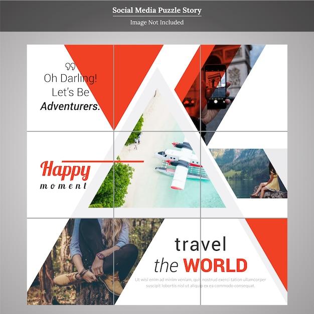 Puzzle viaggi social media post storia modello Vettore Premium