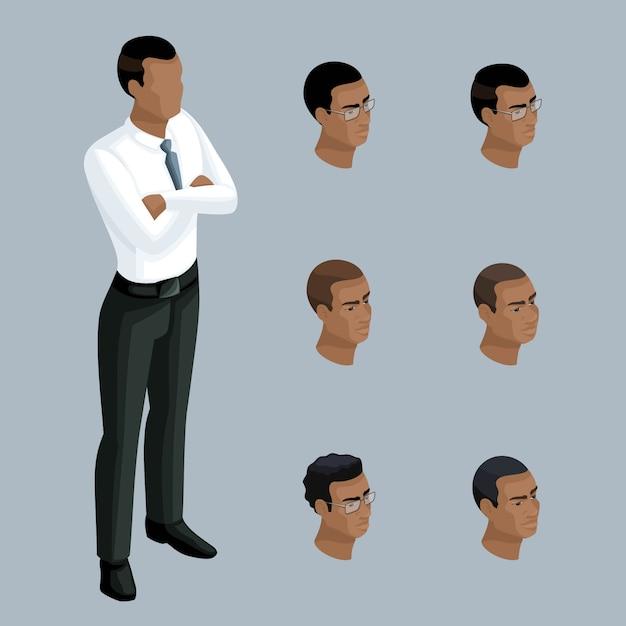 Isometria qualitativa, un uomo d'affari in una postura seria, un uomo afroamericano. personaggio, con una serie di emozioni e acconciature per la creazione di illustrazioni Vettore Premium