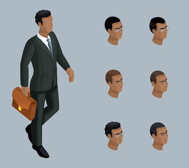 Isometria qualitativa, un uomo d'affari con una valigetta, un uomo afroamericano. personaggio, con una serie di emozioni e acconciature per la creazione di illustrazioni Vettore Premium