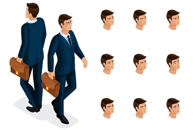 Isometria di qualità, un uomo d'affari con gli occhiali, in un abito elegante e bello. personaggio con una serie di emozioni per la creazione di illustrazioni di qualità Vettore Premium