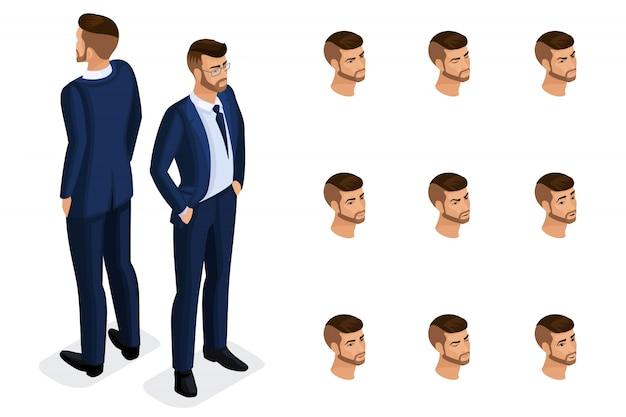 Isometria di qualità, è un uomo d'affari solido, in un abito elegante e bello. personaggio con una serie di emozioni per la creazione di illustrazioni di qualità Vettore Premium