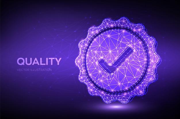 Qualità. controllo dell'icona di qualità poligonale bassa. assicurazione certificazione controllo qualità standard. Vettore Premium