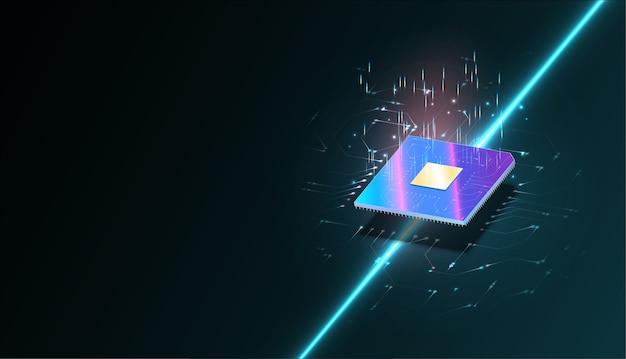 Computer quantistico, elaborazione di dati di grandi dimensioni, concetto di database.banner isometrico della cpu. processori per computer centrali Vettore Premium