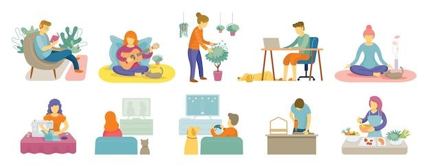Quarantena, attività casalinga Vettore Premium