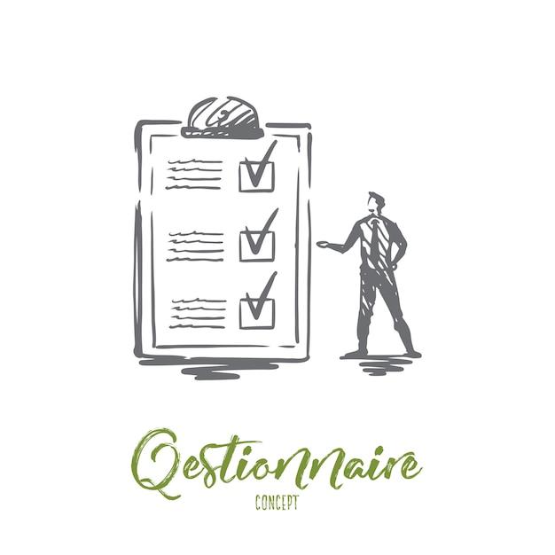 Questionario, modulo, test, lista di controllo, concetto di indagine. persona disegnata a mano e schizzo di concetto di modulo di indagine. Vettore Premium