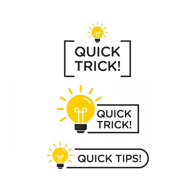 Suggerimenti rapidi, trucchi utili icona logo vettoriale o set di simboli con elemento di colore e lampadina nera e gialla Vettore Premium