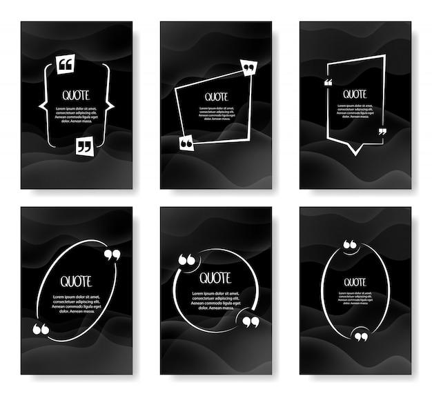 Set di modelli vuoti cornici di citazione. modello vuoto per il testo, virgolette in una bolla vuota. illustrazione Vettore Premium