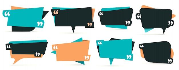 Citazione tra virgolette. note frame, frame per idea e set di modelli di quotazione Vettore Premium