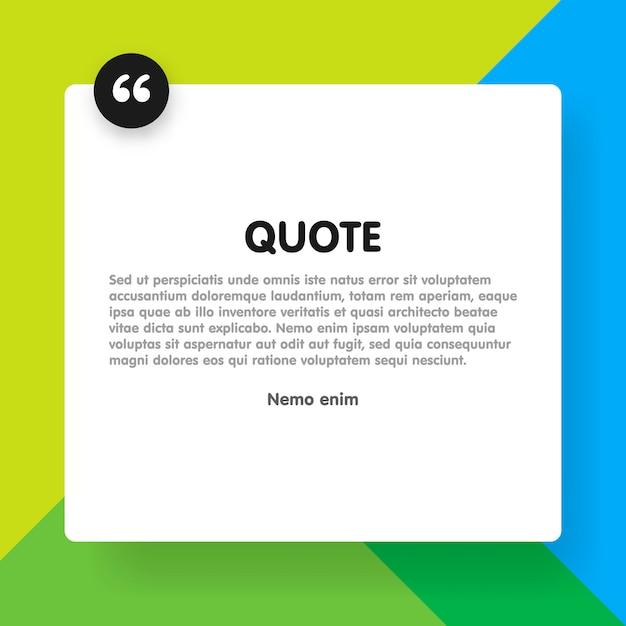 Rettangolo di citazione con modello di informazioni di testo di esempio Vettore Premium