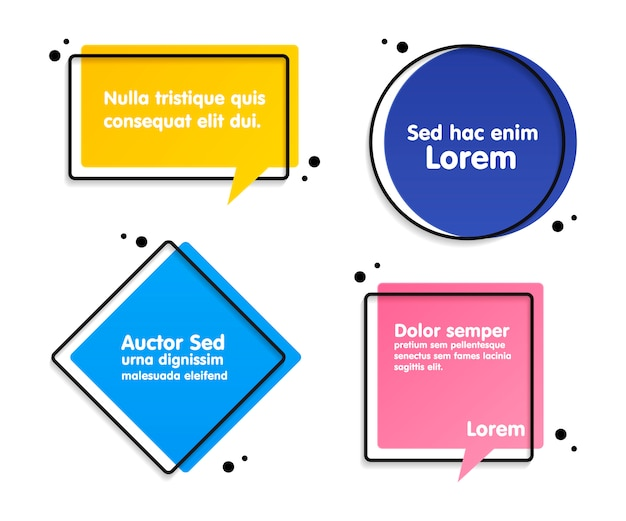 Citazione set di bolle di testo Vettore Premium