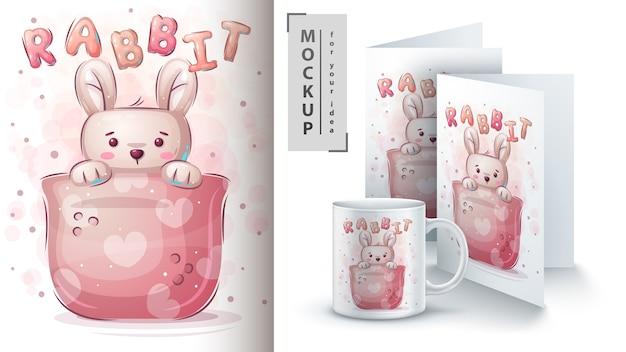 Coniglio in tazza - poster e merchandising Vettore Premium